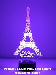Paris Eiffel Tower Night Light Personalized FREE, LED, Night Lamp, Table Light