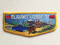 ELAUWIT OA LODGE 37 BSA SCOUT FLAP SERVICE PATCH YELLOW SMALL FLEUR DE LIS TOUGH