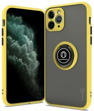 Yellow Phone Case For Apple iPhone 11 Pro Clear Hard Cover w/ Grip Ring Stand