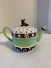 Mary Engelbreit Scottie Dog Tea Pot Christmas Wish Collection Peppermint Candy