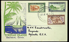 TOKELAU ISLANDS 1948 3V ON  COVER TO UGANDA BEA
