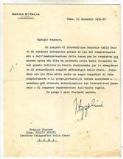 W944-AUTOGRAFO VINCENZO AZZOLINI GOVERNATORE BANCA D'ITALIA