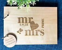 Personalised Mr & Mrs Wedding / Engagement (Customise Wooden) Guest Book