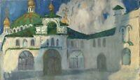 """Russischer Realist Expressionist Öl Leinwand """"Kloster"""" 70 x 40 cm"""