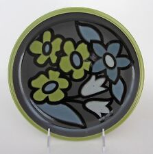 "Denby Jet England Bouquet SALAD PLATES 9"" Green Gray Black Set-4 NEW"