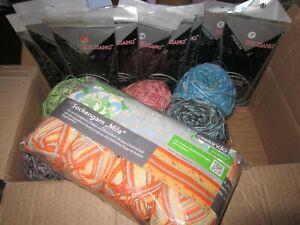 Wolle, Konvolut mit Stricknadel und Sockengarn