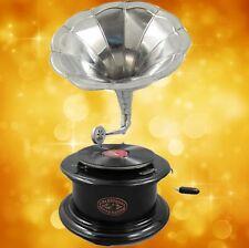 Grammophone Grammophon Graviert Ziseliert Rund Metallic Silber Optik Geschenk Dekoration
