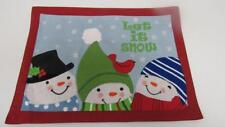 Christmas Holiday Blue Placemat Let It Snow Snowman Snowmen Cardinal Flakes NEW