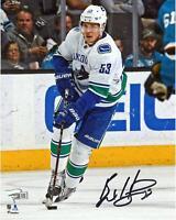 "Bo Horvat Canucks Autographed 8"" x 10"" White Jersey Skating Photo - Fanatics"