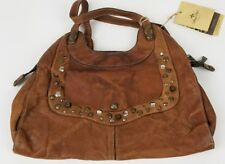 Patricia Nash Large Studded Leather Bag Distressed Tan ** NEW WITH DEFECTS **