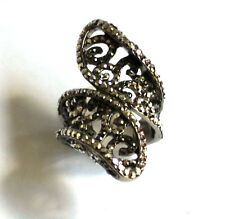Butler and Wilson Silver Crystal Filigree Curved Ring UK N US 6.5 NEW