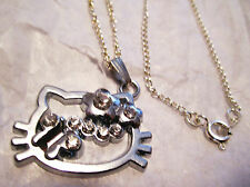 Hello Kitty FACE SILVER RHINESTONE NECKLACE W/ CLASP + FREE S&H + BONUS !!!!!!!