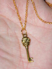 "SKELETON KEY NECKLACE SKULL HEAD TIBET GOLD ALLOY 19"" GOLD TONE CHAIN 2mm NEW!"