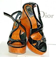 NWT $640.00  CHRISTIAN DIOR STARLET WEDGE , BLACK LEATHER  SZ 37 MADE IN ITALY