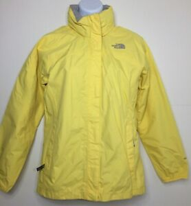 North Face Youth Soft Shell Hyvent Jacket Size L Removable Hood Full Zip Yellow