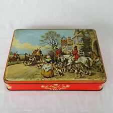 Vintage Weston Biscuit Tin Hinged Hunting Scene Cross Keys Pub Wales