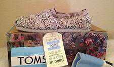 NWT TOMS Classics SILVER MOROCCO CROCHET Gray Flats Shoes Womens 5.5 M  5 1/2 M