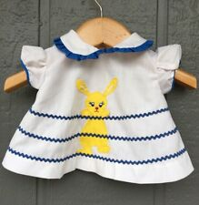 Vintage Appliqué  Bunny Baby Dress 0-3 Months Yellow Canton Candy Ric-Rac