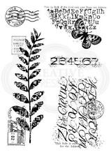 WOODWARE Clear Singles Stamps POSTALE MIX FRS781 Distressed Alphabet