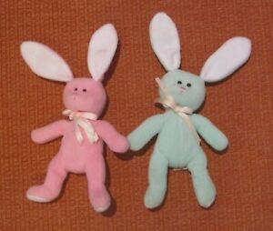 2x Aurora Easter Bunnies Soft Plush Toy Bunny Rabbits - Green & Pink - 25cm