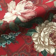 """Red Country Lilac & Rose Floral Paisley Print Fabric by the Yard - 54"""""""