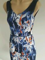 EUC like new.size 6 pencil dress by Jacqui E.   Blue white orange