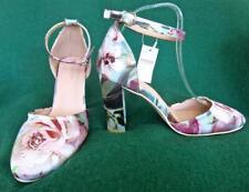 New MONSOON Uk 7.5 -8 BLOSSOM BLOCK HEEL Floral Satin Sandals Shoes EU41 Wedding