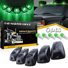5x Roof Cab Marker Light Smoke Cover + Green LED Bulb for Chevy GMC K2500 K3500