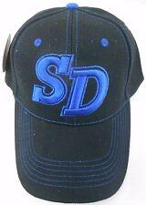 SD embroidered Blue on Black UNISEX  BASEBALL CAP NWT