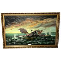 """Large Marine Oil Painting WW2 Sea Battle """"HMS Battleship Hood The Last Moments"""""""