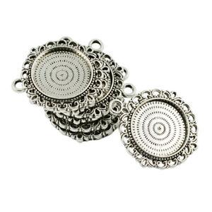 10pcs Bezel Round Cameo Cabochon Pendant Setting Blanks Trays Jewelry 20mm