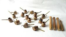 16  VINTAGE BATIK HOT WAX  POURERS, MARKERS. HAND MADE COPPER POTS. FABRIC.