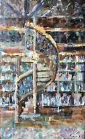 ORIGINAL library ABSTRACT MODERN CONTEMPORARY OIL CANVAS books ART PAINTING