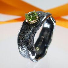A721 Moderner Unikat Solitär Peridot Ring 925 Silber 585 Gold Schmuck Handarbeit