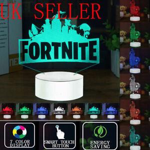 7-Color Fortnite 3D LED Night Light Touch Desk Lamp Bedroom Kids Room Decor Gift