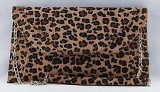 Women's Ladies Bag Clutch Purse Animal Print Faux Fur with Removable Metal Strap