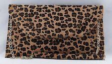 Women's Ladies Bag Clutch Purse Animal Print Faux Fur with Removable Metal Strap