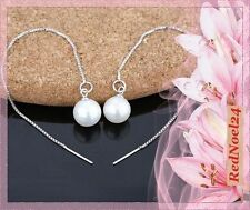 Threader Pearl (Imitation) Silver Plated Costume Earrings