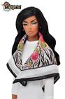 "ELENPRIV Zebra w/roses printed headscarf for 16"" dolls"