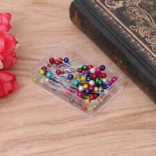 100Pcs Sewing Pin Straight Pins Round Colorful Head Pearl Corsage Fashion Fine