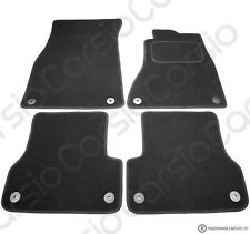 Audi A6 C7 2011 Onwards Tailored Carpet Car Floor Mats in Black 4pc Set 8 Clips
