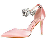 NEW NIB CRYSTAL ANKLE STRAP PALE PINK SATIN COUTURE PUMPS HEELS PROM WEDDING 5