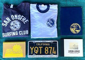Vintage San Onofre Surfing Club Items Sweatshirt T-Shirt Books Plate Frame