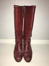 ZODIAC USA HIGH BOOTS COWBOY HEEL LEATHER VINTAGE 70s 60s Womens 10 Red Brown