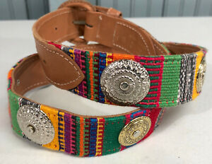 "Guatemala Patchwork Medium Circle Conch Embroidered Patterned 36"" Leather Belt"