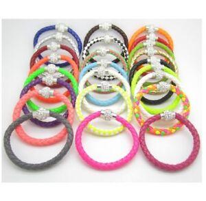 Rhinestone Wrap Bracelet Leather Colourful 21cm Choose Colour Magnetic Clasp