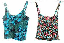Sz S/M - Lot of 2 Shirred Stretch Cropped Tops - 1 Blue & 1 Black Floral