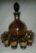 Czechoslovakia Bohemia Brown Glass Decanter 8 Cordials Art Deco Gold Trim Vtg