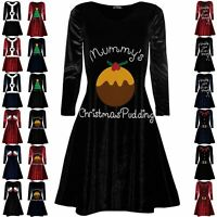 Womens Christmas Velvet Velour Mummy's Pudding Ladies Maternity Xmas Swing Dress