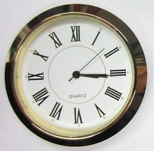 "2-1/8"" (55MM) PREMIUM QUARTZ CLOCK Insert, Gold Bezel, Metal Case, Roman"